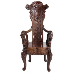 Art Nouveau Style Japanese High-Back Dragon and Phoenix Armchair in Carved Wood