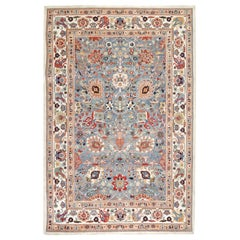 Red, Blue and Ivory Contemporary Handmade Wool Turkish Oushak Rug