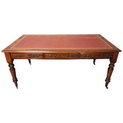 William IV Mahogany Partners Writing Table with Leather Top