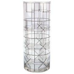 Marcello Morandini for Rosenthal Modern Glass Vase with Graphic Design