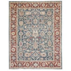 Red, Blue and Gold Contemporary Handmade Wool Turkish Oushak Rug