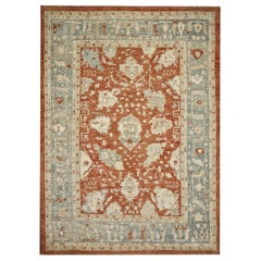 Red, Blue and Ivory Contemporary Handmade Wool Turkish Oushak Rug Oversize