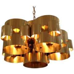 Polished Brass Cloud Chandelier by Curtis Jere, circa 1975