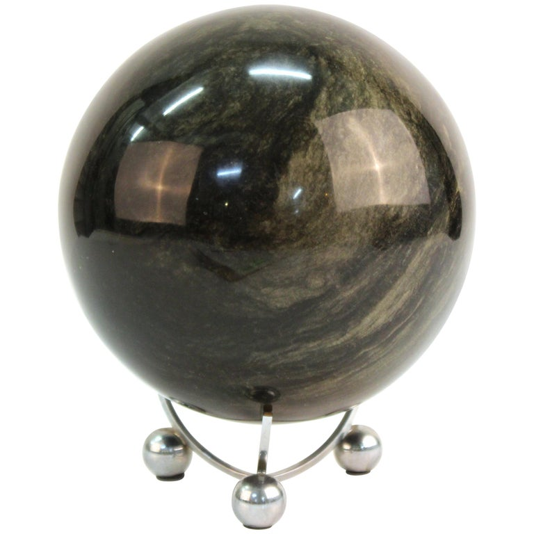 Mineral Specimen Sphere on Art Deco Stand For Sale