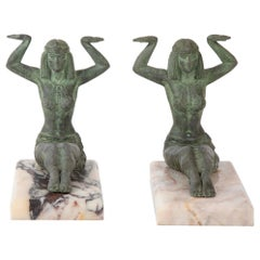 Pair of French Art Deco Egyptian Style Bronze Bookends
