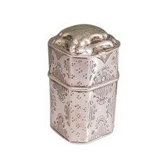 19th Century Dutch Silver Loderein or Vinaigrette Box Dated 1878