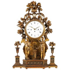 Period Neoclassical Early 19th Century Carved Giltwood Mantel Clock, Vienna