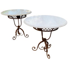 Pair of French Round Wrought Iron and Marble Garden Bistro Tables