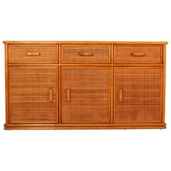 Vintage French Wood and Rattan Buffet, 1970s