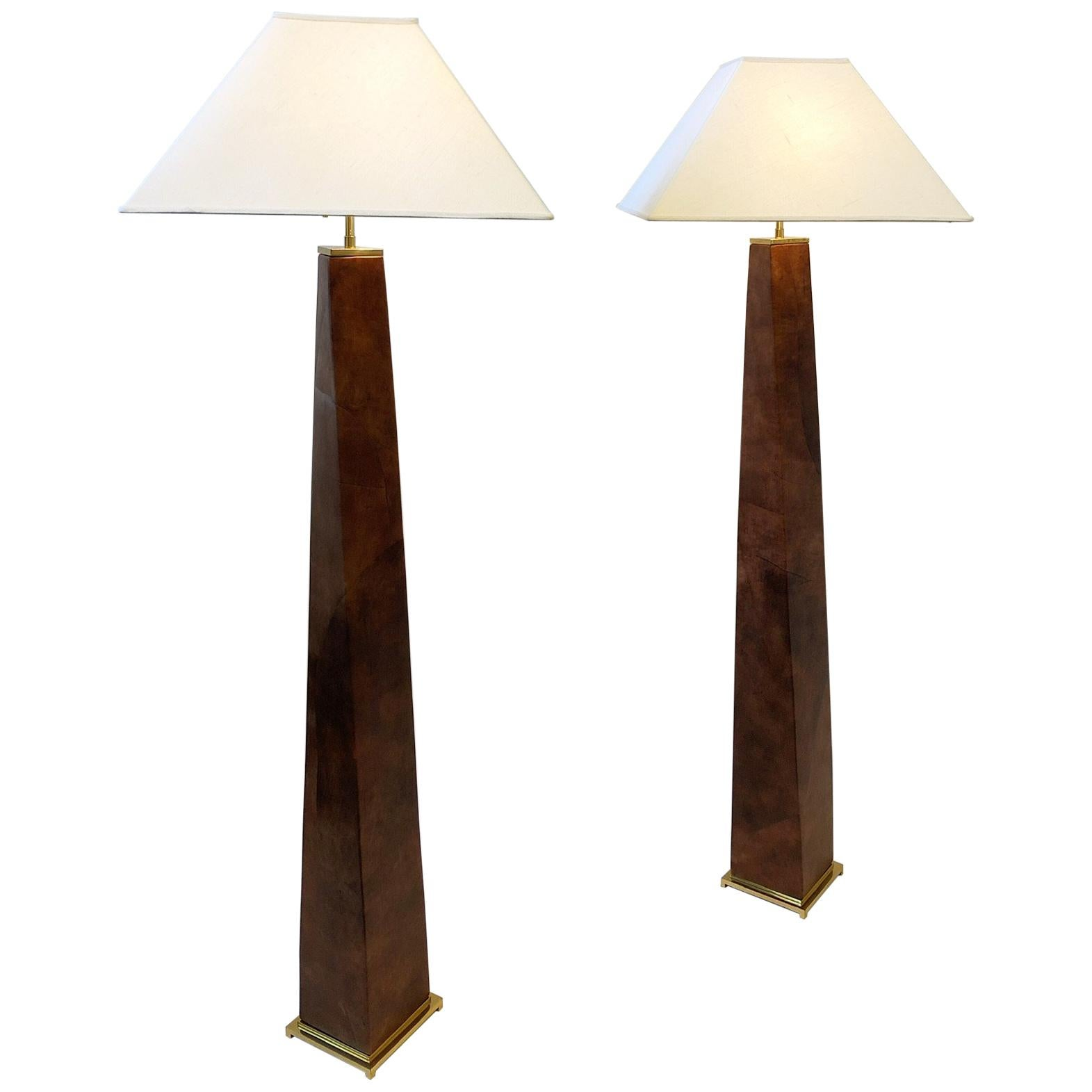 Pair of Brass and Leather Floor Lamps by Karl Springer