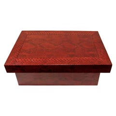 Karl Springer Burgundy Python Lidded Box, 1980s