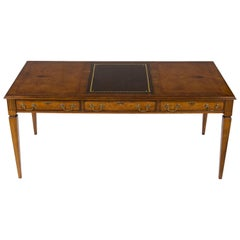 Chippendale Style Walnut Faux Partners Writing Table Desk