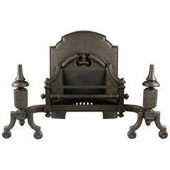 Grand Antique Cast Iron Gothic Revival Firegrate