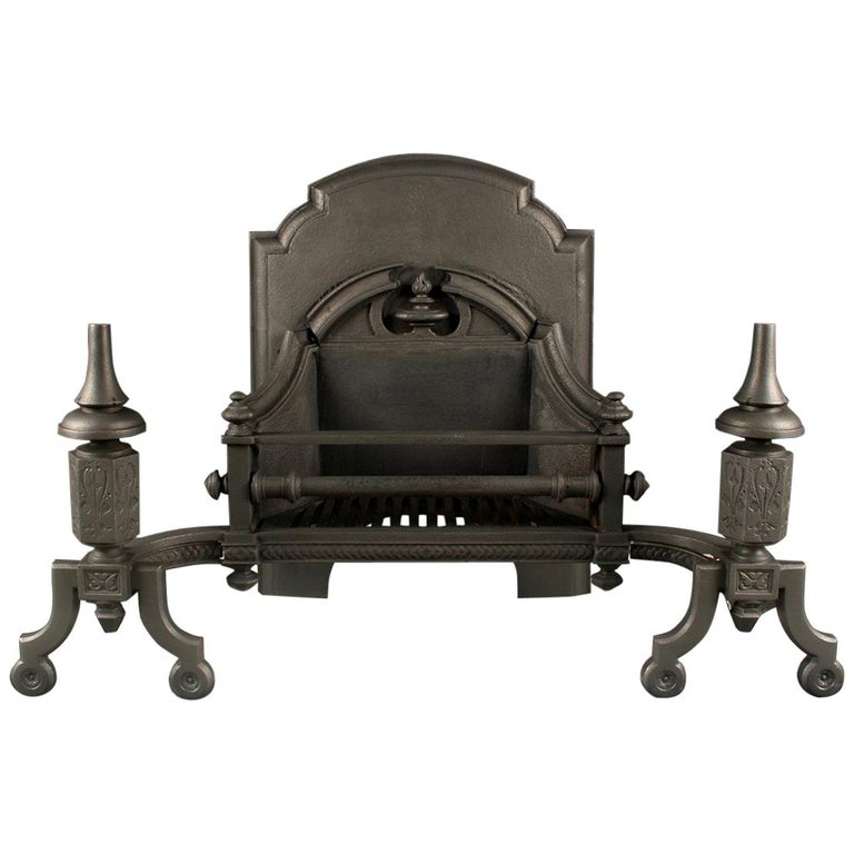 Grand Antique Cast Iron Gothic Revival Firegrate For Sale