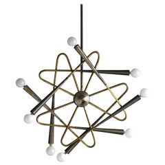 Stilnovo, Eight-Armed Modernist Chandelier or Ceiling Lamp, Brass, Italy, 1950s