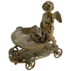 Antique English Novelty Table Salt, Figural, Cherub, circa 1890