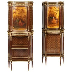 Pair of Napoleon III Side Cabinets with Vernis Martin and Ormolu Decoration