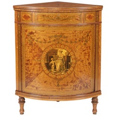 Neoclassical Inlaid Corner Cabinet of the English Revival Period