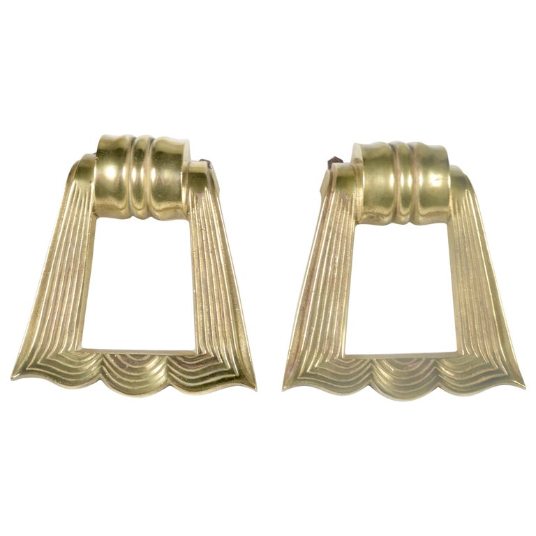 Pair of French 1940s Brass Door Pulls For Sale