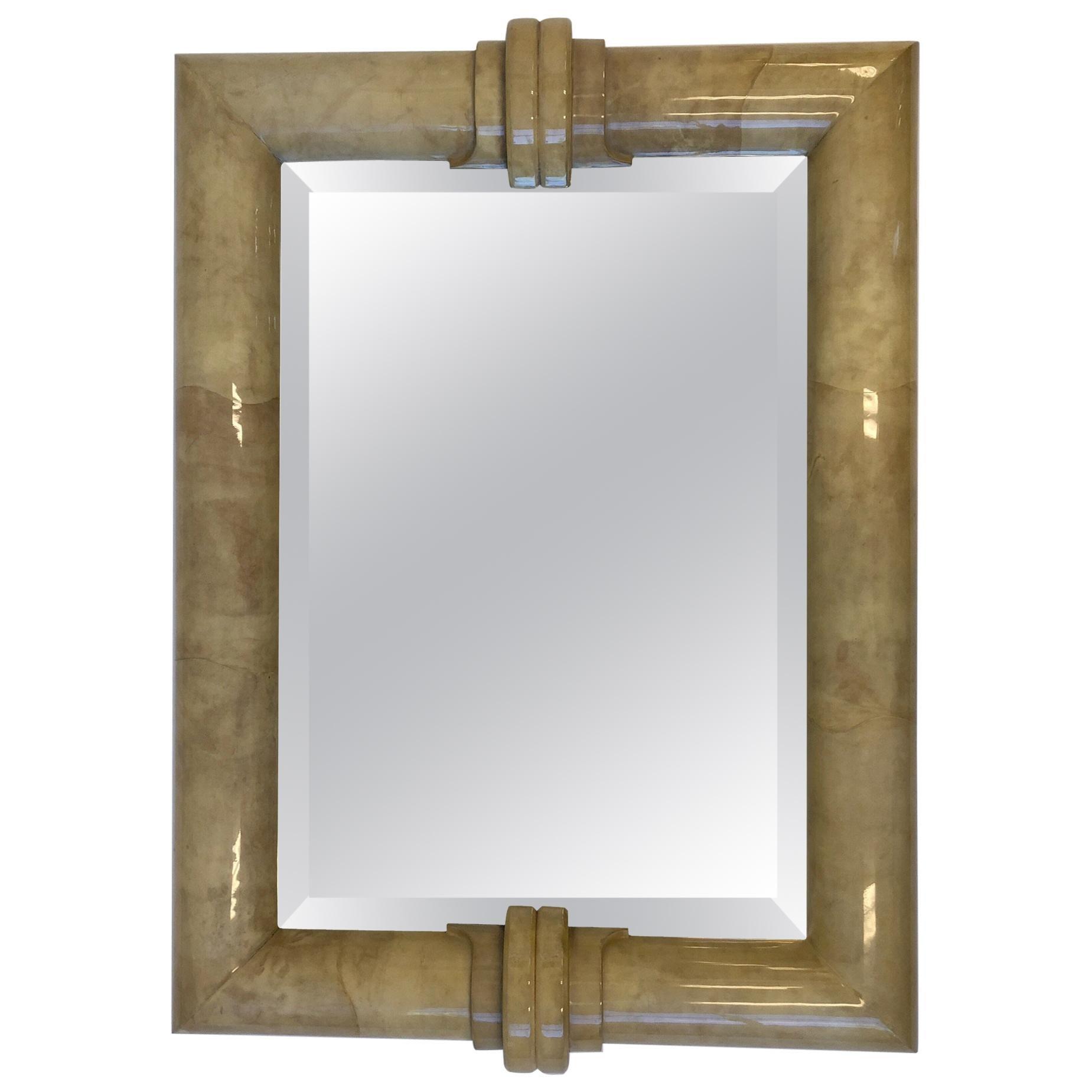Goatskin Bevel Mirror in the Manner of Karl Springer