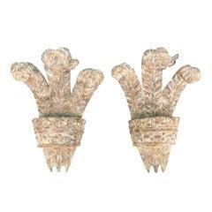 Pair of 20th Century Carved Wood Fleur de Lis Appliques