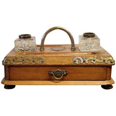 Victorian Antique Oak Inkwell with Drawer
