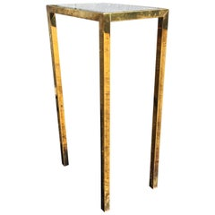 Brass Side Table with Glass in the Style of Laverne