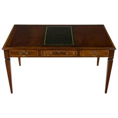 Chippendale Style Mahogany Leather Top Writing Desk Library Table
