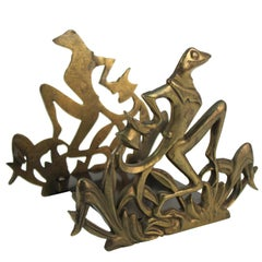 Art Nouveau Style Cast Iron Boot Brush or Book Rack with Frog Motif
