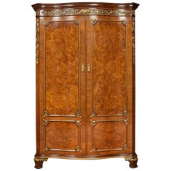 Serpentine Fronted Maple and Co Walnut Wardrobe