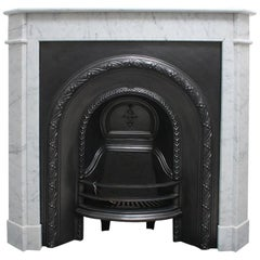 Original Antique French Carrara Marble Fireplace Surround