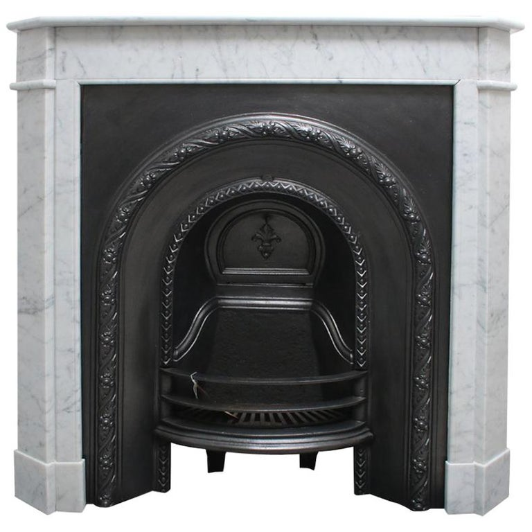Original Antique French Carrara Marble Fireplace Surround For Sale