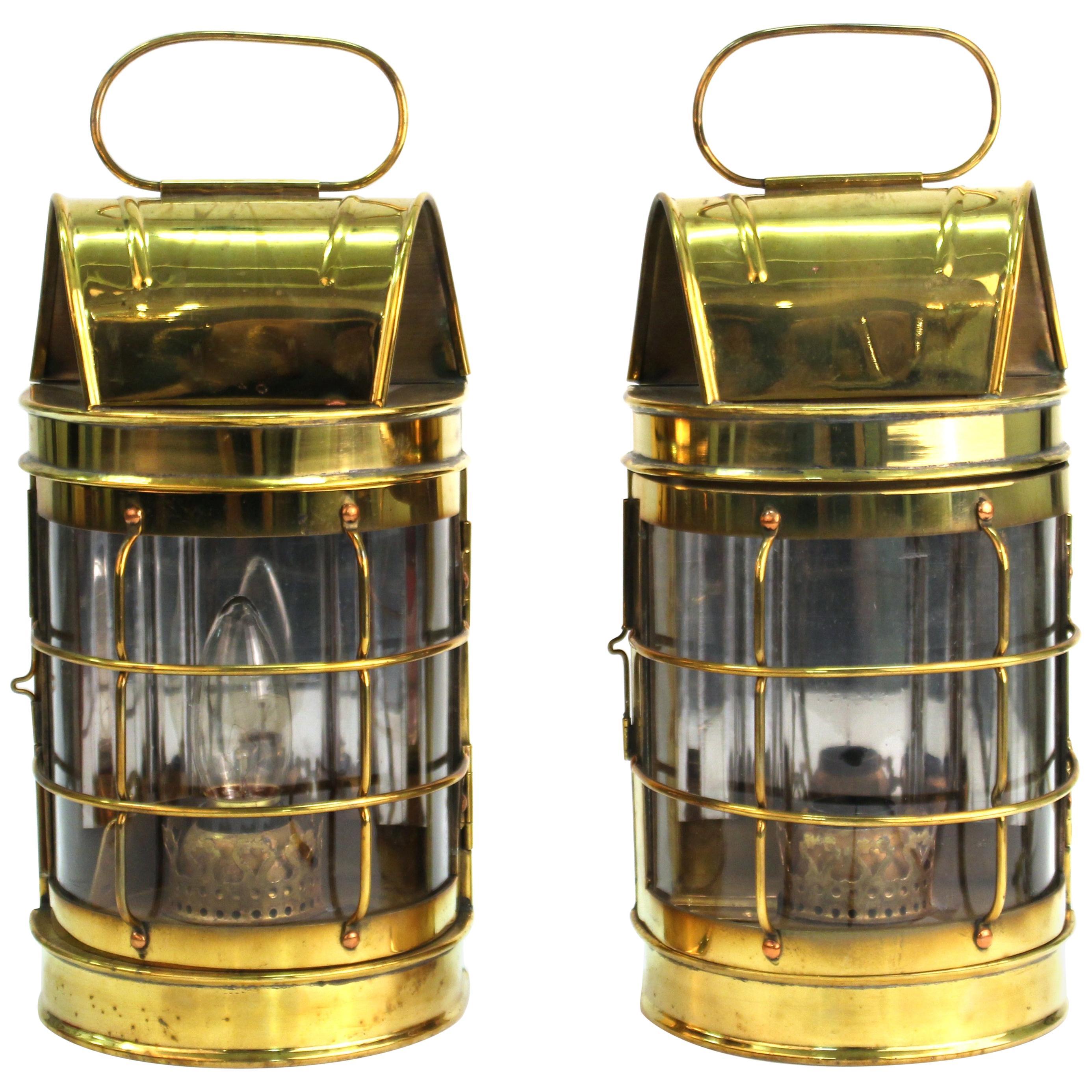 Mid-Century Modern Brass Lantern Wall Sconces