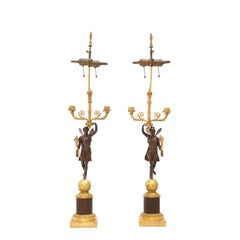 Pair of 19th Century French Ormolu and Patinated Bronze Figural Candelabra Lamps
