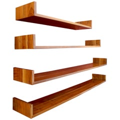Mid-Century Modern Set of Walnut Hanging Shelves Designed by Mel Smilow