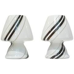 1970s Italian Pair of White Lamps with Black Gray Murrine Attributed to Vistosi