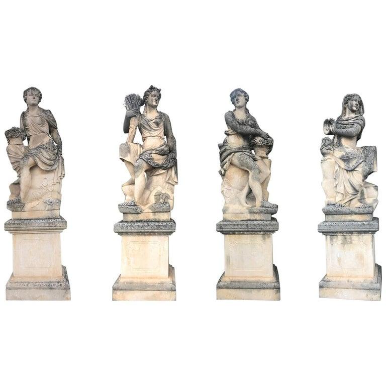 Four Seasons Extraordinary Italian Stone Sculptures For Sale
