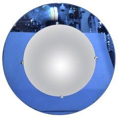 Art Deco Convex Circular Mirror with Blue Border