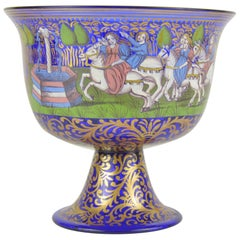 Wedding Murano Cobalt Glass Cup with Enamelled Decoration Albertini Spezzamonte