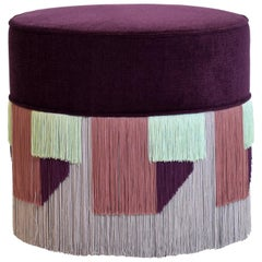 Couture Violet Pouf with Geometric Fringe by Lorenza Bozzoli Design