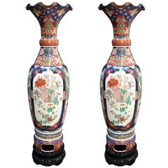 Pair of Large Vases 19th Century Imari Japanese Porcelain Vases