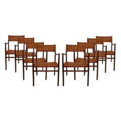 Jens Risom Mid-Century Modern Set of Eight Chairs, USA, 1950s