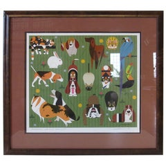 Charley Harper Midcentury Dog, Cat and Bird Serigraph Artist Signed