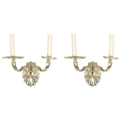 Pair of Silver Caldwell Style Double Arm Sconces