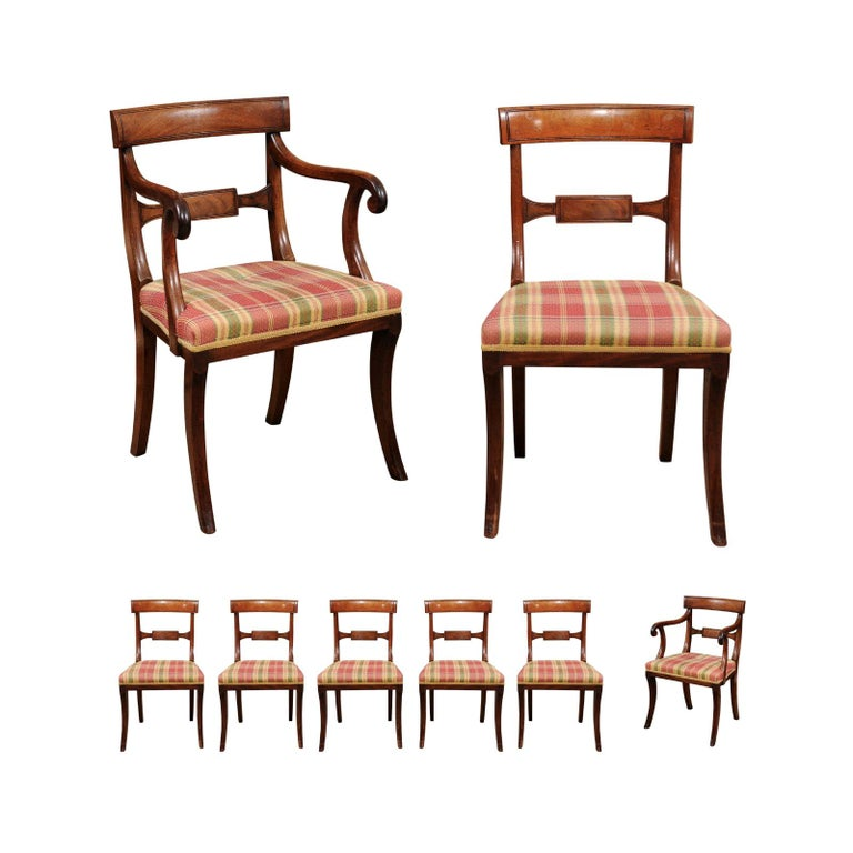 Set of 6 Regency English Mahogany Dining Chairs For Sale