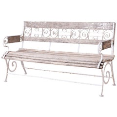 French Wood and Wrought Iron Garden Bench, circa 1900