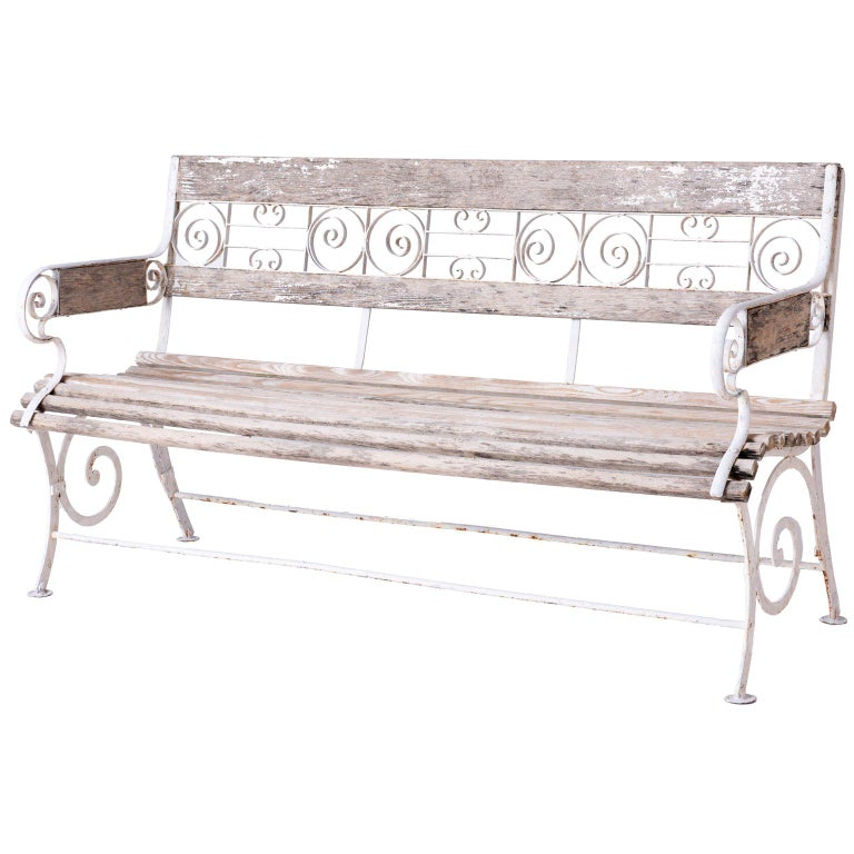 French Wood and Wrought Iron Garden Bench, circa 1900 For Sale