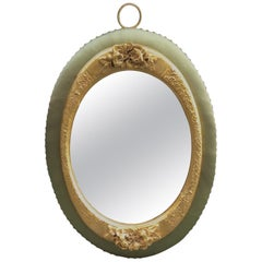 Oval Art Deco Wall Mirror with Carved Golden Leaf Wood Frame and Silk, 1940s