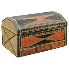 Continental 19th Century Decorated Painted Paper Lined Wooden Box