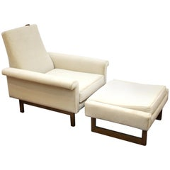 German Mid-Century Modern Lounge Armchair with Ottoman